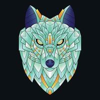 bunte Verzierung Doodlec Kunst Wolf Illustration Cartoon vektor