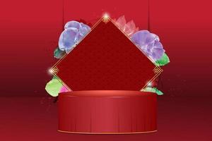 chinesischer Stand oder Podium auf der roten Bühne mit Blumenaquarell vektor