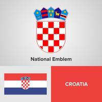 Kroatien nationellt emblem, karta och flagga