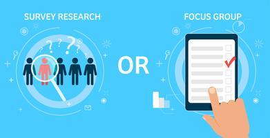 Undersökningsforskning eller fokusgrupp. Vektor platt illustration