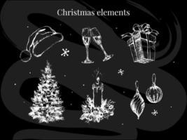neue jahr und weihnachten set skizze illustration vektor