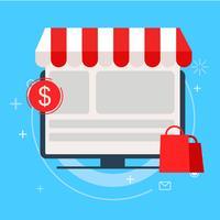 Försäljning målsida. Onine shopping. platt illustration