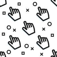 Clickbait. Markörerna av handen trycker på knappen. Digital marknadsföring. Vektor platt mönster