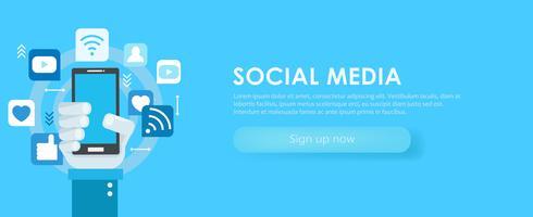 Social-Media-Banner. Telefon mit Symbolen. flache Darstellung vektor