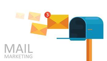 E-post marknadsföring. Postkorg och kuvert omringad med anmälan av ikoner. Vektor platt illustration
