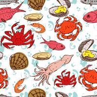 Meeresfrüchte. nahtloser Hintergrund vektor