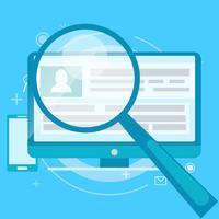 Account revision banner. En dator med ett förstoringsglas pekade på det. Vektor platt illustration