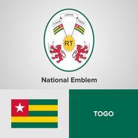 Togo National Emblem, karta och flagga