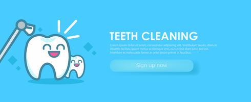 Zahnheilkunde Banner Reinigung Zähne. Süße Kawaii-Figuren. Flache Vektorillustration