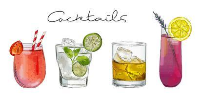 Hand gezeichnete Abbildung mit Cocktails.