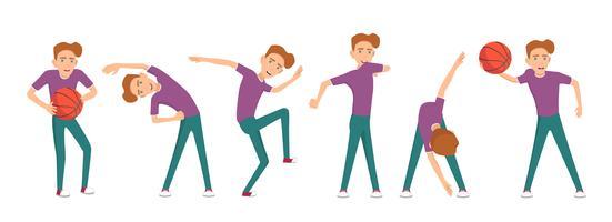 Pojke gör olika övningar. Vektor illustration.