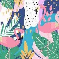 Tropisk djungel lämnar bakgrund med flamingos