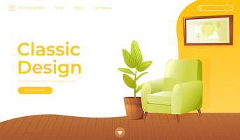 Klassiskt vardagsrum heminredning banner. Landningssida Website conept. Bekväm fåtölj med en växt i ett rum med retro tapeter. Vektor tecknad illustration