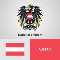 Österreich National Emblem, Karte und Flagge vektor