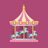 Flache Illustration des Karneval-Karnevals. Vergnügungsparkillustration eines rosa und gelben Karussells mit Pferden nachts