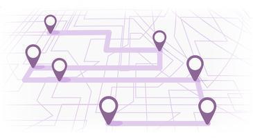 Digitale Karte mit farbigen sieben Punkten. Der Weg der Stadtnavigation mit Anfang und Ende. Vektor-Banner-Infografik