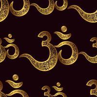 Sömlöst mönster Om eller Aum Indiskt heligt ljud, original mantra vektor