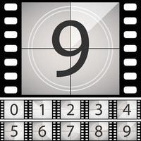 Countdown-Rahmen des alten Films. Vintage Retro-Kino-Timer vektor