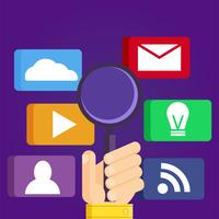 SEO, sökmotoroptimering. Digital marknadsföring. Ikoner uppsättning analytics sökning, information och webbplats. Vector Illustration.