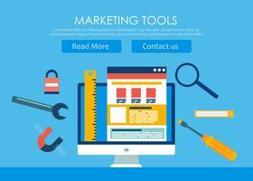 Webbdesign och utveckling banner. Dator med verktyg och byggarbetsplats. Vektor platt illustration