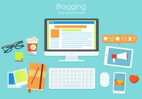 Arbetsplatsen för en bloggare, eller en arbetssökande. Dator och varningar i telefonen och meddelanden i telefonen. Arbeta på bloggens statistik. platt illustration