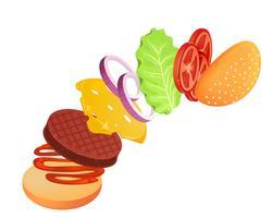 Hamburger med sallad, lök, ost, tomat och kött. Flygande ingredienser av burger. Vektor tecknad illustration