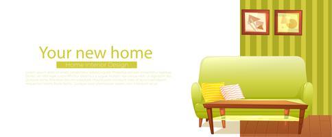 Ihr neues Heimatbanner. Retro Sofa und Couchtisch. Vektorkarikaturabbildung