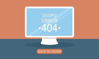 Computerseite 404 nicht gefunden. Flache Vektor-Illustration