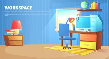 Tonårs- pojkrumsinredning. Arbetsplats med skrivbord och dator, hyllor och leksaker och bok. Vektor tecknad illustration
