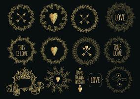 Insamling av handdragen guld laureller och kransar. vektor
