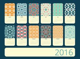 Kalender 12 månader. Geometrisk vintage mönster.