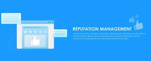 Banner für Suchmaschinen-Reputations-Verwaltungsdienste. Browserfenster mit Bewertungen, Kommentaren und Feedback der Benutzer der Website. Vektor flache Steigung