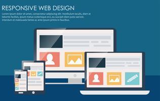 Responsives Webdesign, einschließlich Laptop, Desktop, Tablet und Handy. Flache Vektorillustration