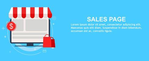 Försäljning målsida. Onine shopping. Vektor platt illustration