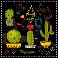 Kaktusar och succulenter i krukor. vektor