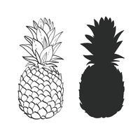 Schwarzweiss-Ananas vektor