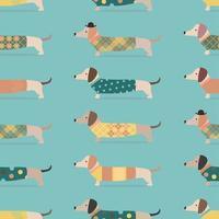 nahtloses Muster mit Dackelhunden in Kleidung auf blauem Hintergrund vektor