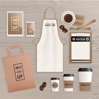 Företagsidentitetsdesignmall för kaffebutik eller hus. Mock-up paket, tablett, telefon, prislapp, kopp, anteckningsbok. Vektor realistiskt koncept