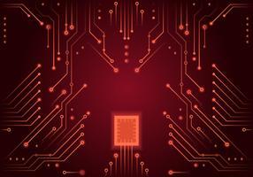 röd tryckt kretskort vektor