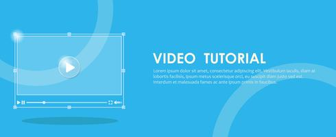 Video-Tutorial-Banner. Hand drücken eines Computers. Flache Vektorillustration
