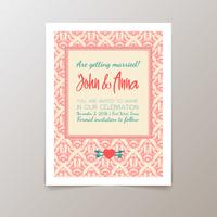 Bröllop inbjudningskort med geometrisk vintage vektor