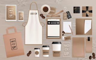 Corporate Identity Design-Vorlage für Kaffeestube oder Haus festgelegt. Mock-up-Paket, Tablet, Telefon, Preisschild, Tasse, Notizbuch. Vektor realistisches Konzept