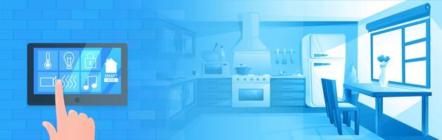 Smart hemteknik banner. Digital skärm på väggen. Vektor tecknad illustration