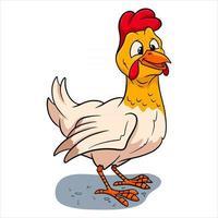 Tiercharakter lustiges Huhn im Cartoon-Stil vektor