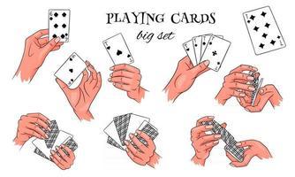 Glücksspiel. Spielkarten in der Hand. Casino, Vermögen, Glück. großer Satz. vektor