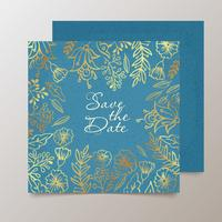 Trendigt kort med blomma för bröllop, spara datuminbjudan.