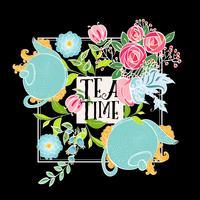 Zeit, Tee zu trinken. Trendy Poster