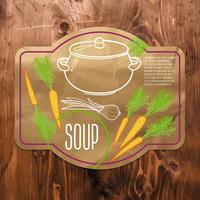 Suppe Kraftpapier beschriften. vektor