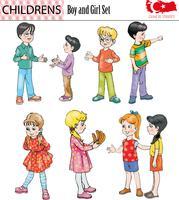 Pojke och flicka teckenuppsättning, vektor, eps vektor