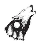 Negativraum eines Wolfes mit Waldhintergrund vektor
